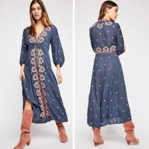 NWT! Free People XS Embroidered Fable Maxi Dress